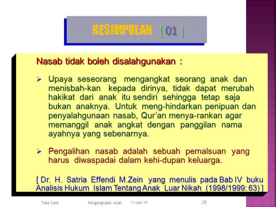 KESIMPULAN [ 01 ] Nasab tidak boleh disalahgunakan :